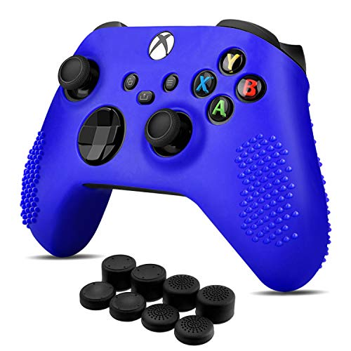 Controller Cover Skin Case + 8 Thumb Grips Set (Blue) Compatible with Xbox Series S / X - Soft Studd