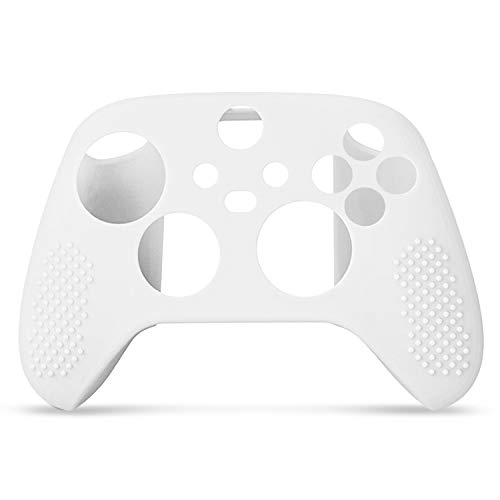 Controller Cover Skin Case + 8 Thumb Grips Set (White) Compatible with Xbox Series S / X - Soft Stud