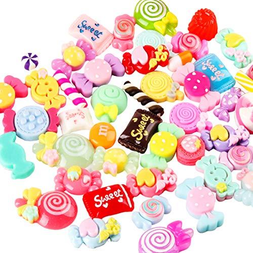 Gemischtes Süßigkeiten-Set, Kunstharz-Lutscher, Schleimperlen, zum Basteln, für Bastelarbeiten, K