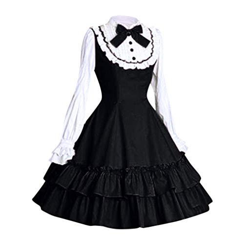 Lolita Kleid Damen Gothic Maid Kostum Piebo Frauen Langarm Mini Kleid Lace Up Bowknot Ruschen Mittelalter Kleider Oktoberfest Halloween Weihnachten Party Karneval Fasching Anime Cosplay Costume Otaku Shop