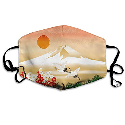 Multifunctional Cloth Washable Half , Graphical Interpretation of Landscape in Japan with Bird