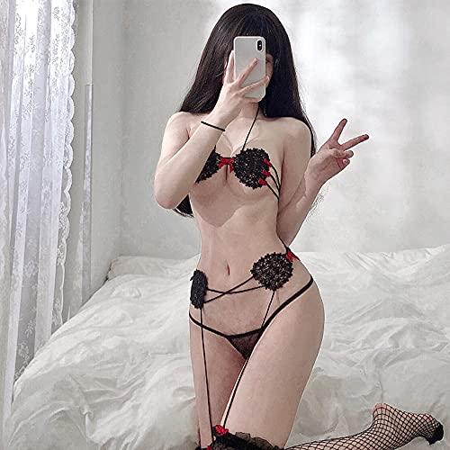 JasmyGirls Damen sexy Cosplay Dessous Frech Anime Devil Micro Bikini Lolita Roleplay Outfit Spitzen-